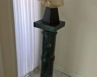 Gorgeous bust on onyx stand. Marble display column. Unique!