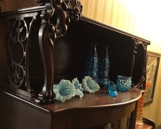 "Blue ""Fenton"" glass ,  Blue depression shoe , bud glass wall pocket with brass bracket available ( not pictured here)"