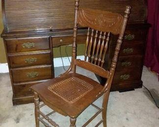 Vintage, solid wood, Roll top desk