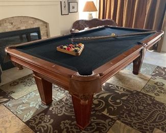 Pool table dimensions are 7ft. 4in. X 4ft. 2in. (88 inches x 50 inches).