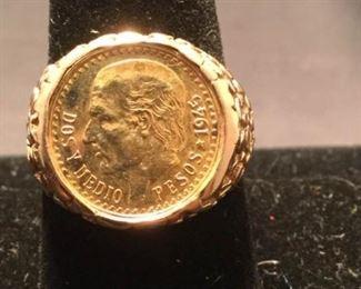 14K Gold Peso Ring https://ctbids.com/#!/description/share/290574