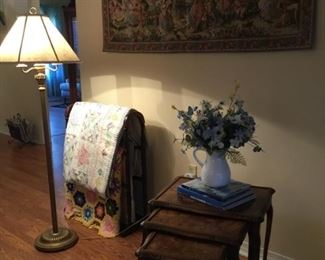 Antique quilts, Belgian tapestry, nesting tables