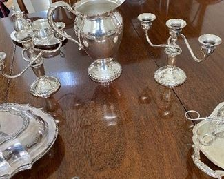 Antique- Vintage Sterling Candelabras Weighted, Various Sterling  Serving Pieces, Silver Plate Serving