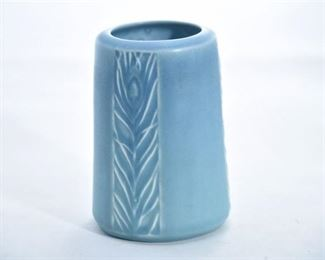 7. Rookwood Pottery Blue Peacock Feather Vase