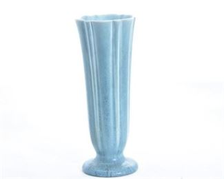 13. Rookwood Pottery Scalloped Teal Vase