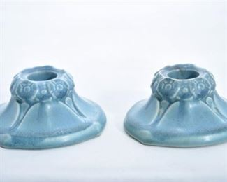 17. Pair of Rookwood Pottery Blue Candle Holders