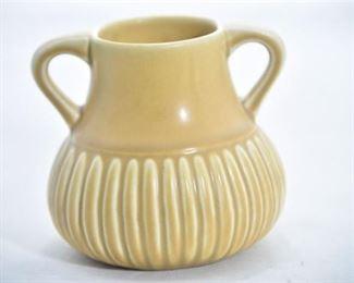 32. Rookwood Pottery Mustard Yellow Ribbed Handled Vase