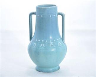 33. Rookwood Pottery Matte Teal Handled Vase