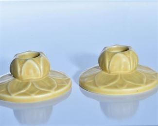 48. Pair of Rookwood Pottery Mustard Yellow Candle Holders
