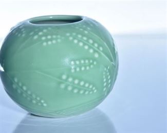 55. Rookwood Pottery Green Glazed Bowl Vase
