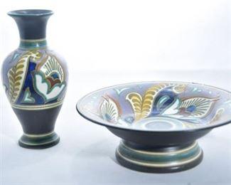 65. Monda Gouda Holland Hand Painted Bowl and Vase