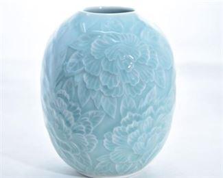 69. Light Blue Floral Motif Vase