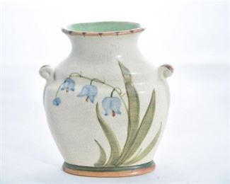70. Hand Painted Pottery Vase with Bluebell Design