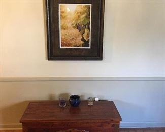 Great old cedar chest with brass trim.