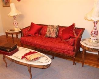 Sofa and Trio of Matching Coffee Table and Side Tables with Pair of Vintage Lamps and Decorative Pillows