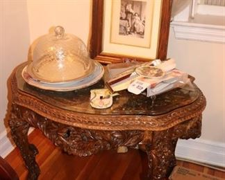 Vintage, Carved Occasional Table with Serving Pieces and Picture Frame