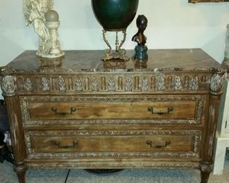 Marble Carved Cut Top Console $350