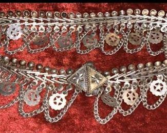 Old Pure Silver Belly Dancing Belt & Bracelet