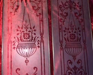 Antique etched glass panels  $80