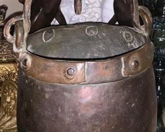 large old copper brass pot