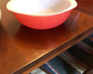 Pink Pyrex sold.  Table available Sunday