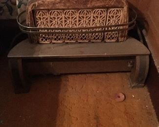 Antique clay back gas heater with 6 radiant blocks.