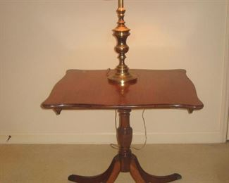 Game table and brass w red shade