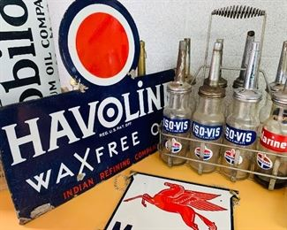 Dozens of Gas & Oil porcelain signs and memorabilia. Havoline WaxFree Oil