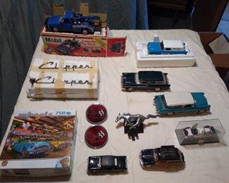 Big Model Car Lot 9 Model Cars, 2 Corvette Emblems, Clipper Decals, and More
