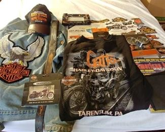 Harley Davidson Clothing, Hat, Patch, and Bike Accessories Lot