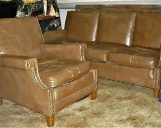 Beautiful Mid-Century soft leather sofa and matching chair