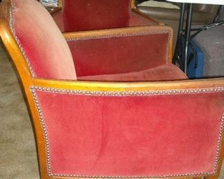 Fabulous pair of oversize parlor chairs.  Design is timeless.