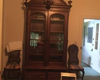 Just one of the many pieces! This walnut Victorian Bookcase is over 10feet tall! So very fine!