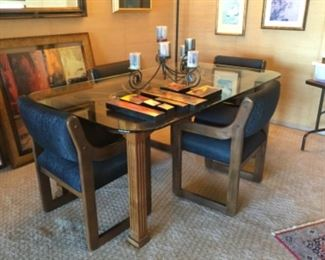 DINING TABLE, CHAIRS, ARTWORK