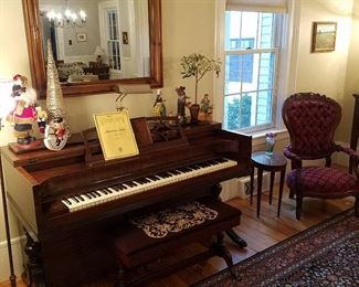 Acrosonic console piano and matching bench, along with small oval Baker table & Victorian style arm chair