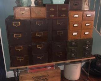 Card files card catalog, vintage vases