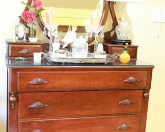 20d x 36h (to dresser, not to mirror) x 41w with glass top