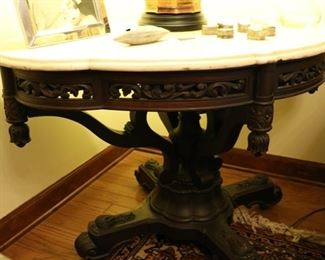 marble top table 48w x 32d x 29 1/2h