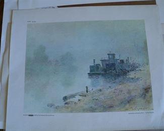 Paul Sawyler print Houseboat on Kentucky River