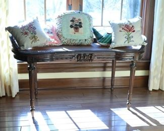wood bench with cane seat 18d x 41l x 21h