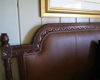Queen bed with leather insert