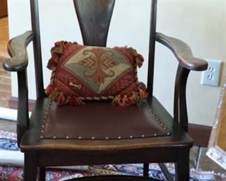 wood arm chair with leather seat 40h x 20d x 21w
