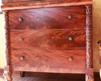 3 drawer dresser with elaborate carved animal feet and a hidden secretary 46w x 22d x 48h
