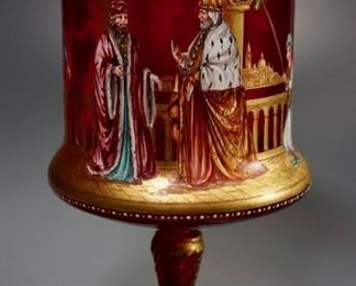 1. Lot 4938  Museum Quality Florentine Ruby Glass Enamel Painted Cup