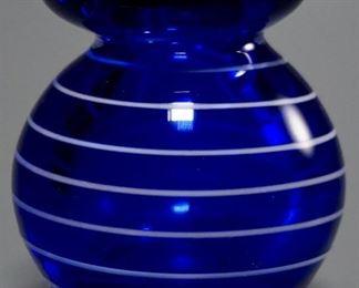 Lot 2  White Thread Blue Art Glass Vase Paperweight