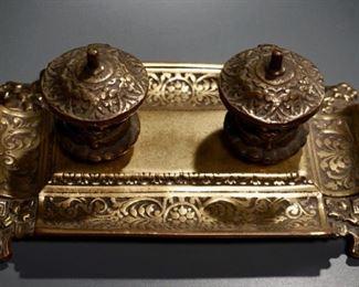 Lot 5  Ornate Cast Brass Bronze Inkwell Ceramic Inserts