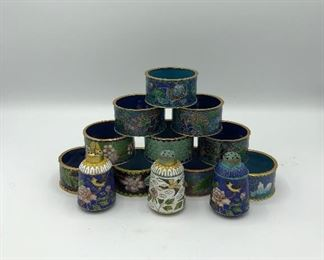 Cloisonne Napkin Rings and Salt Shakers