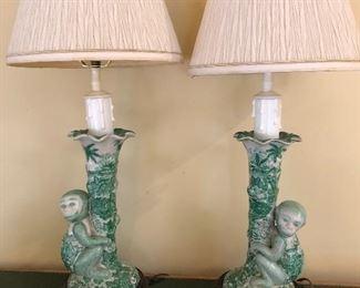 Chinese Ceramic Monkey Lamps