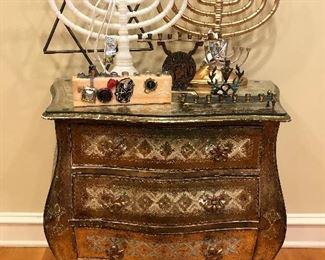 Side Table and Hanukkah Decor, Hanukkiahs