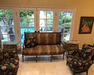 Faux Leopard Settee and Armchairs